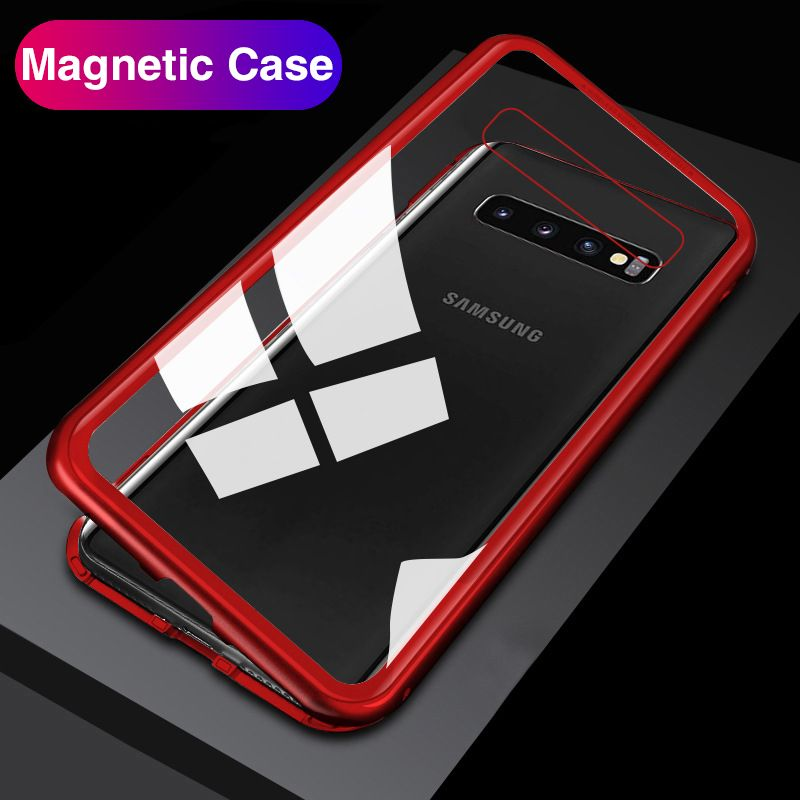 Full Body Magnetic Case For Samsung Galaxy S10 Plus 360 Bumper Back Covers Tempered Glass For Samsung S10e A50 A30 M20 3D Magnet