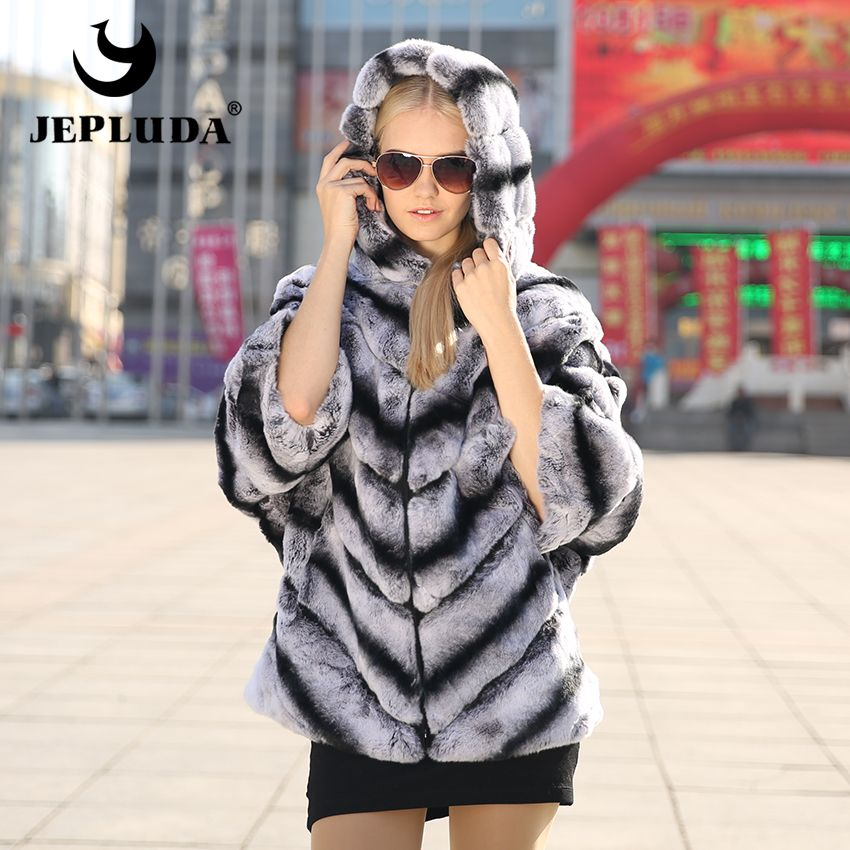JEPLUDA Real Rex Rabbit Fur Coat Winter Natural Fur Jacket with hood and Bat Sleeve Women's Outerwear with Genuine Real Fur coat