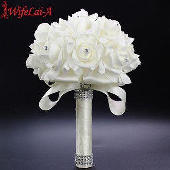 WifeLai-Un 1 Pièce Pas Cher Demoiselle D'honneur De Mariage Décoration Foamflowers Rose bouquet De Mariée Blanc Satin Romantique bouquet De Mariage PL15