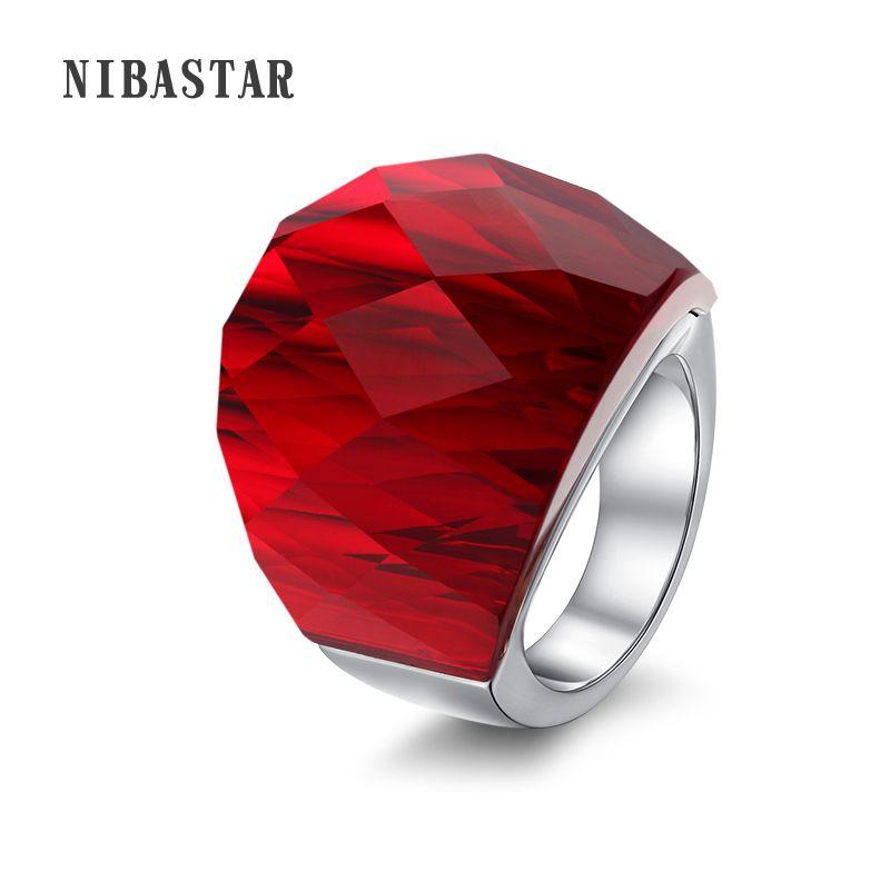 Anneau de bijoux en cristal de marque de luxe pour femmes en acier inoxydable 316L anneau en cristal blanc et noir Transparent