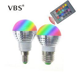 LED RGB Ampoule Lampe E27 E14 AC85-265V 3 W LED RGB Spot Blubs Lumière De Vacances Magiques RGB éclairage + IR Télécommande 16 couleurs