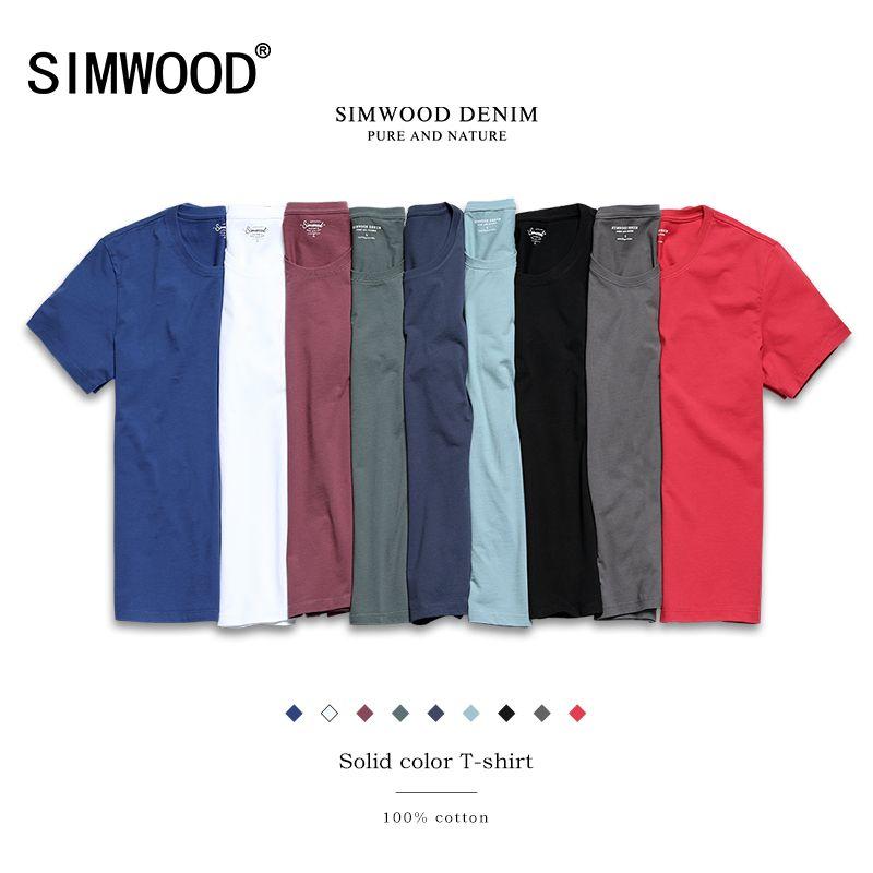 SIMWOOD 2018 Nouveau T Shirt Hommes Slim Fit Solide Couleur fitness Casual Tops 100% Coton Confortable de Haute Qualité, Plus La Taille TD017101