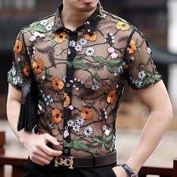 Bunga Renda Baju Bordir Melihat Melalui Kemeja Pria Chemise Homme Marque Luxe Mesh Transparan Musim Panas Kemeja Lengan Pendek