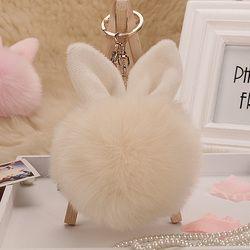 Брелок кролик брелок в виде зайчика пушистый помпон Для женщин заячьи ушки с меховыми помпонами брелок кольца сумка femme Pom ключ