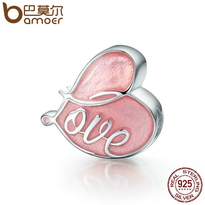 BAMOER Romantic 925 Sterling Silver Charm Fall in Love Pave & Pink Enamel Heart Charms fit Original Bracelet Jewelry SCC133