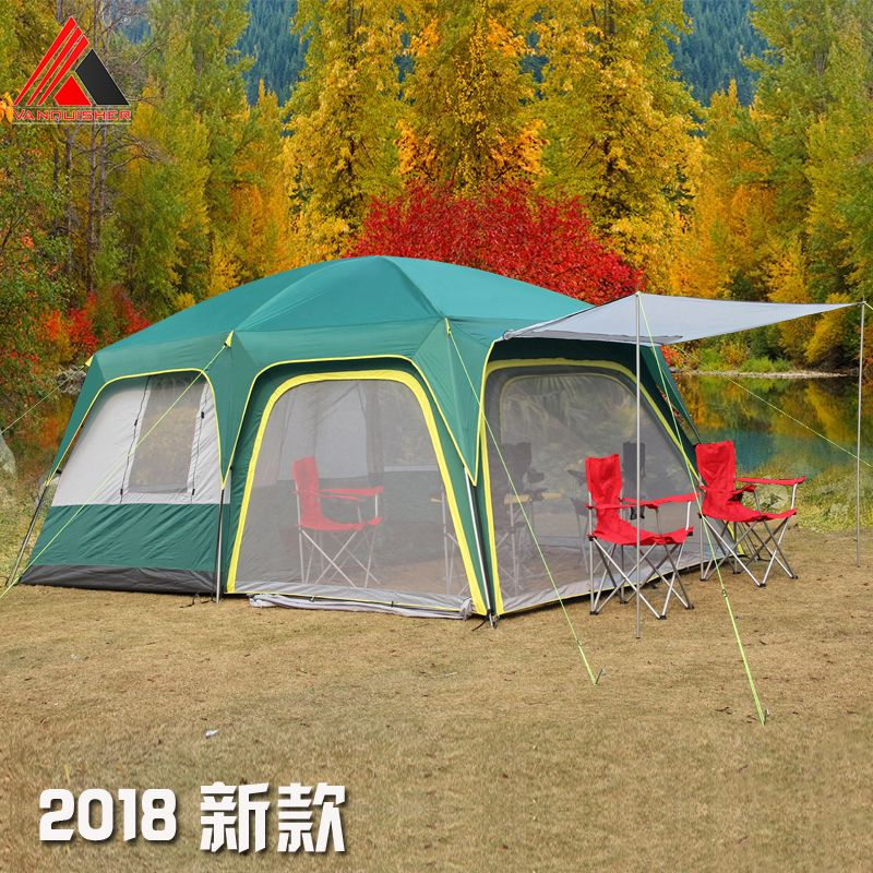 Vanquisher 2rooms 1hall 6-12 people large outdoor camping travel family tent in good quality and big space