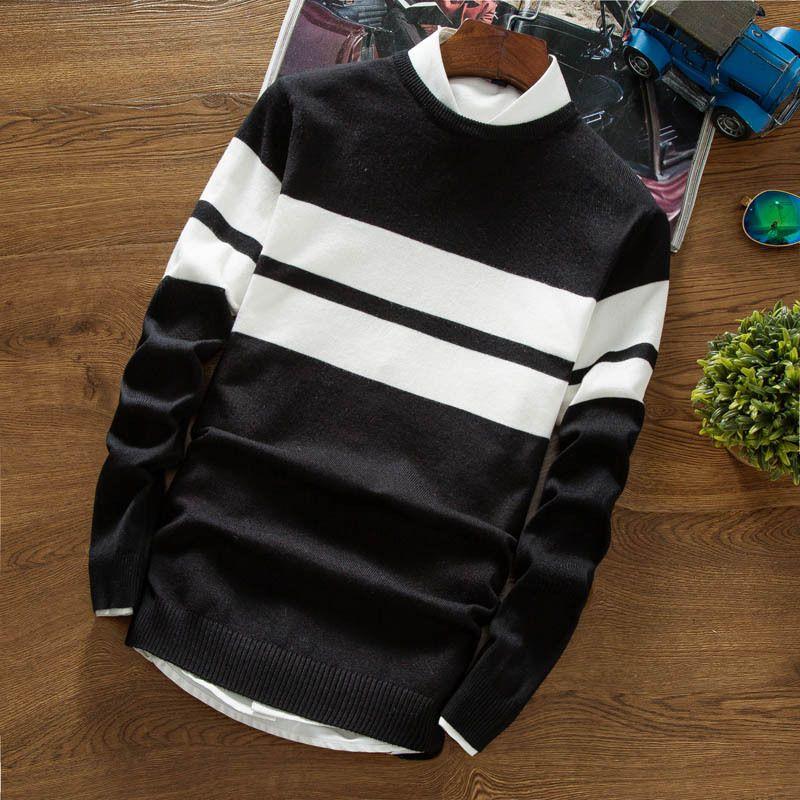 Осень новинка 2017 Мужчины свитер с длинным рукавом творческий Тонкий полосатый свитер