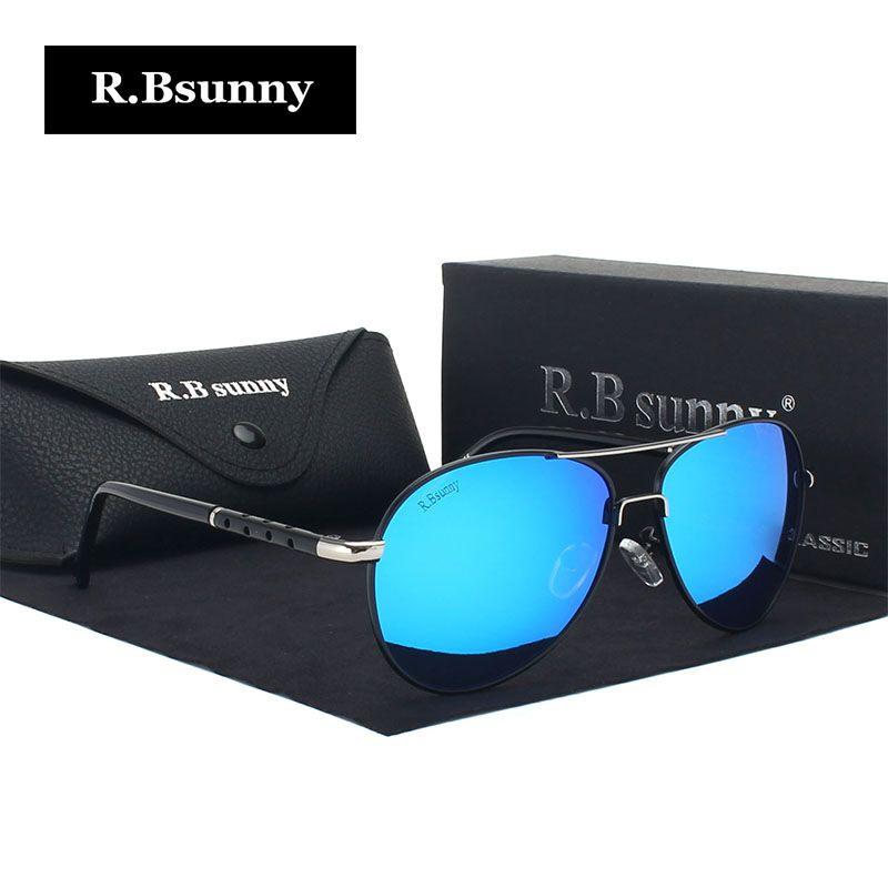 R.Bsunny New Brand fashion polarized sunglasses men Classic Retro Pilot Glasses Color Polaroid lenses Driving women sunglasses