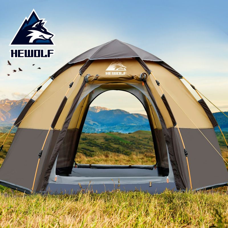 Hewolf New Outdoors 3-4 People Automatic Family Tent Big Space Beach Tent Thickened Rainproof Camping Tent