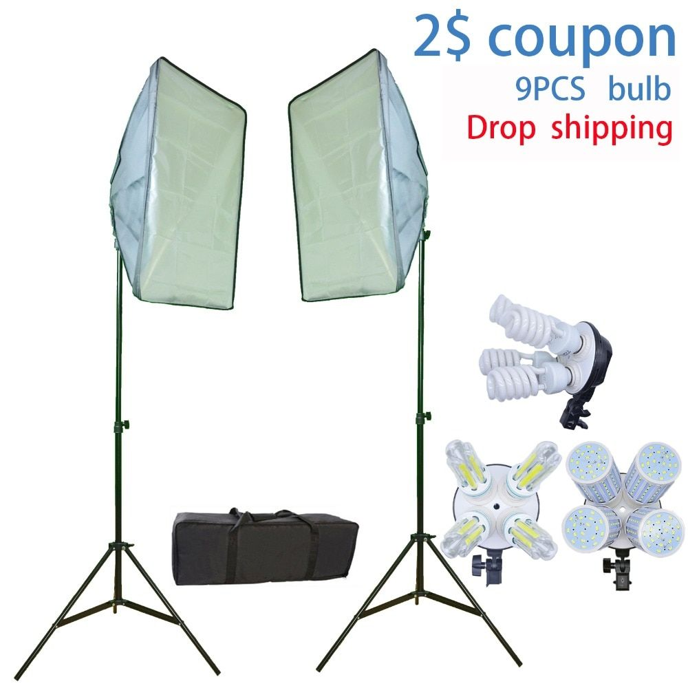 Photo Studio 9 Bulbs Softbox Kit Photographic Lighting Kit camera & photo accessories 2 light stand 2 softbox for Camera Photo