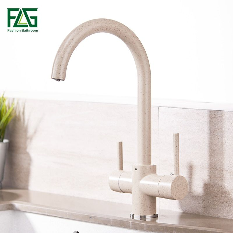 FLG Kitchen Faucet with Filtered Water 3 Way Drinking Water Cold and Hot Brass Marble Painting Kitchen Faucet Mixer Taps