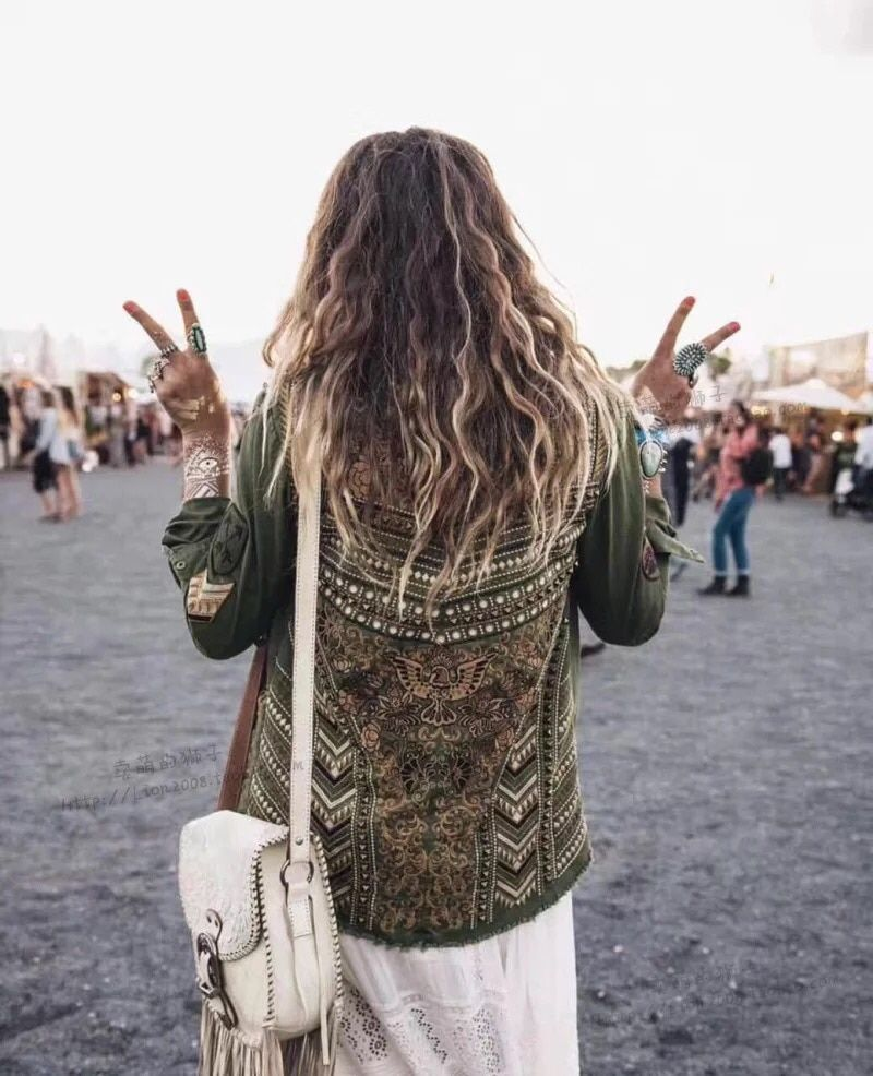 Khaki Panther Embellished Army Jacket Coolest Floral Embroidery and Rivets khaki shirt With Front Pockets Green Panther Coat