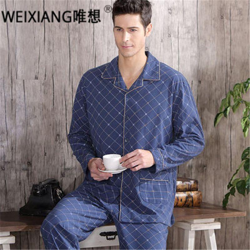 High Quality Twinset 100% Cotton New 2016 Autumn Pajama Sets Plaid Pijama Men Woven Rayon Pajamas Men's Sleepwear Men Pyjamas