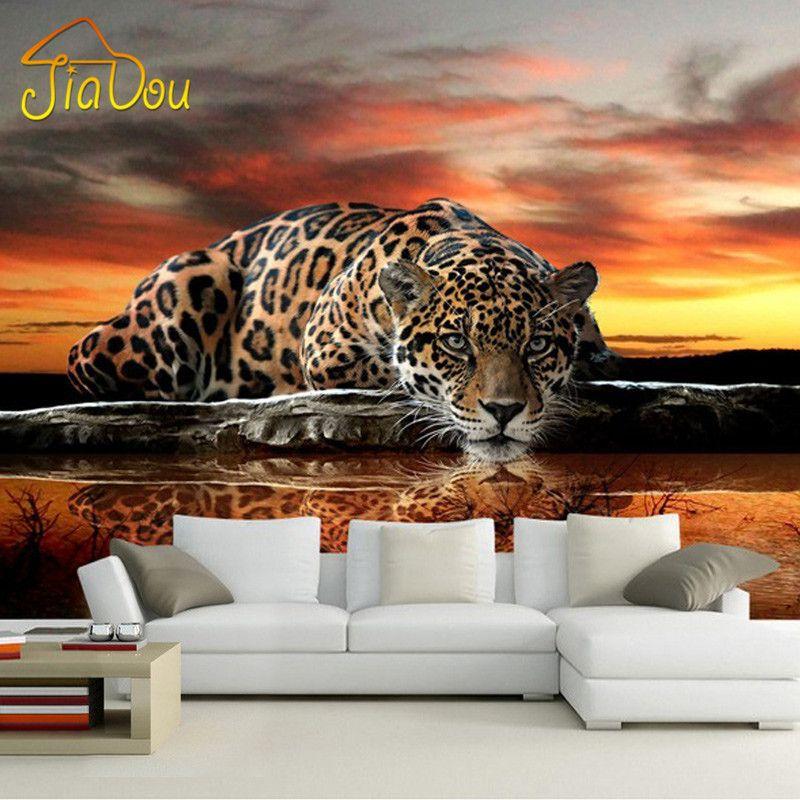 Individuelle Fototapeten 3D Stereoskopischen Tier Leopard Wandbild Tapete Wohnzimmer Schlafzimmer Sofa Hintergrund Wandmalereien Tapete