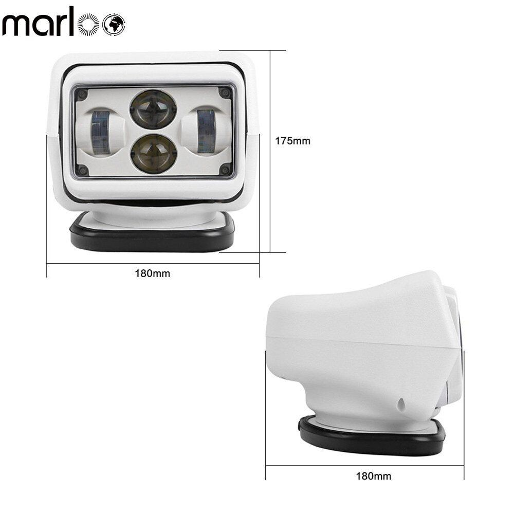 Marloo 50W / 60W DC 12V 24V LED Searchlight Wireless Remote Control Spotlight Magnetic Base for Car Boat Vehicles ( White )