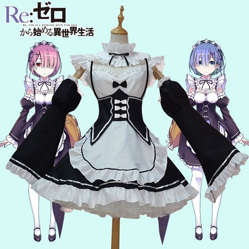 Anime Cosplay Dress Re:<font><b>zero</b></font> Kara Hajimeru Isekai Seikatsu Life In a Different World Ram Rem Maid Dress Halloween Cosplay Costume