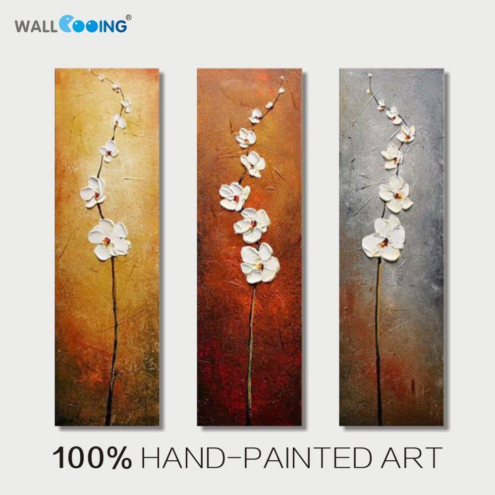 100% peint à la main 3 panneau abstrait Vertical fleurs blanches peinture à l'huile toile décoration photo mur art moderne maison peintures