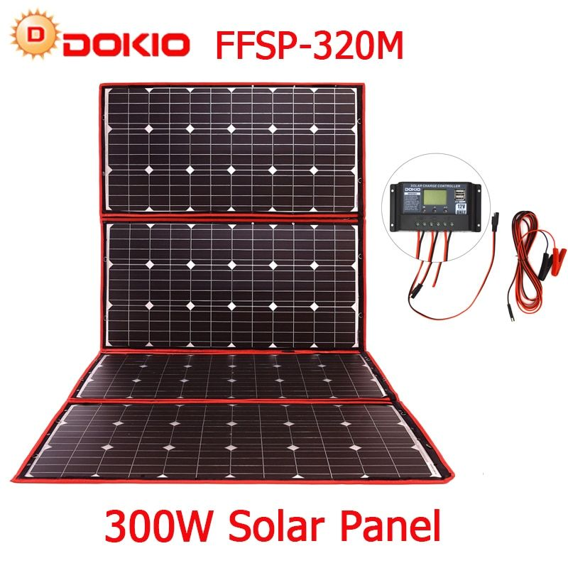 Dokio 300W 18V Flexible Foldable Solar Panel Hiqh Quality Portable Solar Panel China For Camping/Boat/RV/Travel/Home/Car