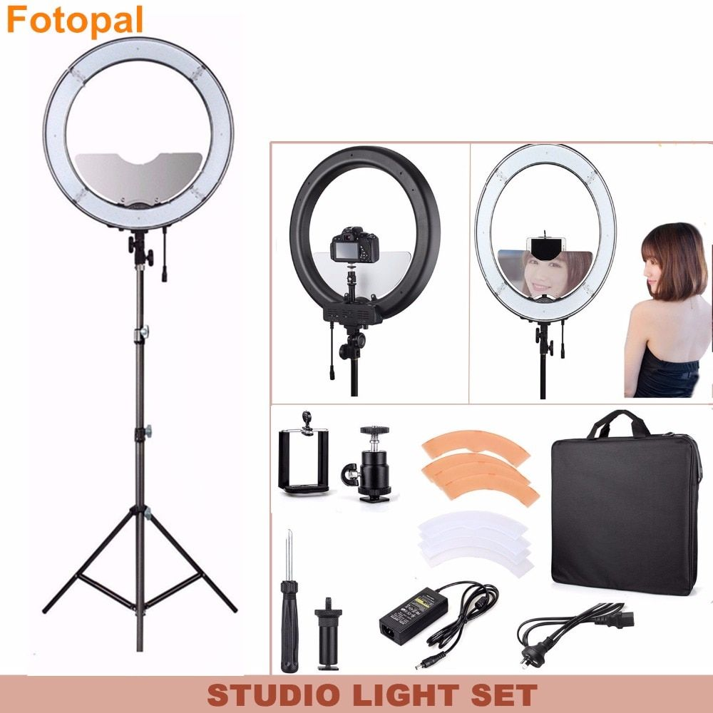 Fotopal Dimmable 240 LED Photographic Lighting Annular Lamp Camera Photo Studio Phone Video Ring Light Tripod Mirror For makeup
