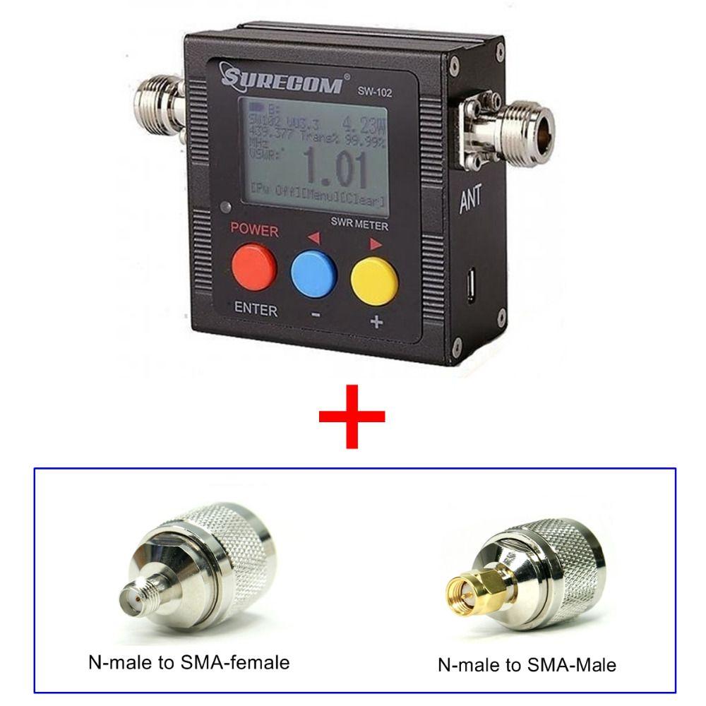 409 magasin produit SURECOM SW-102 SW102 vswr compteur de fréquence et compteur de puissance adaptateur gratuit pour talkie-walkie BAOFENG