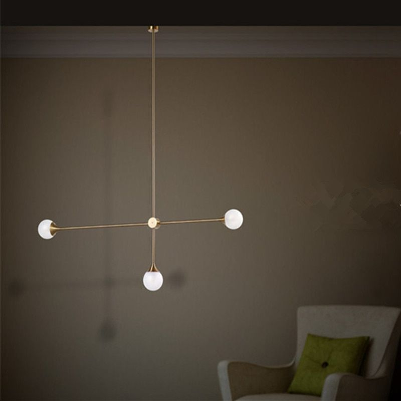 Nordic 3 Lights Art Style Living Room Pendant Light Loft Geometric Dining Room Light Coffee Shop Light With Led Bulbs