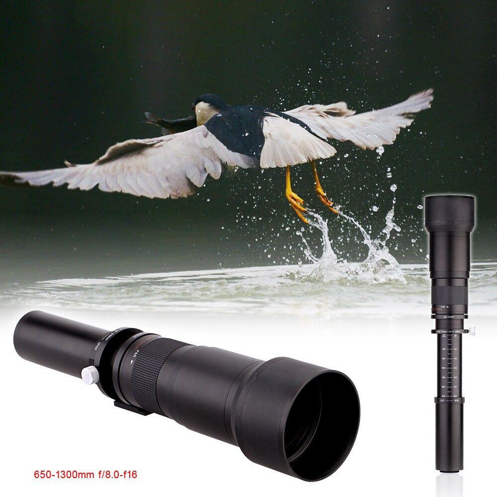 Lightdow 650-1300mm Camera Lens F8.0-16 Ultra Téléobjectif Zoom Objectif avec T-Mont pour Appareil Photo REFLEX NUMÉRIQUE