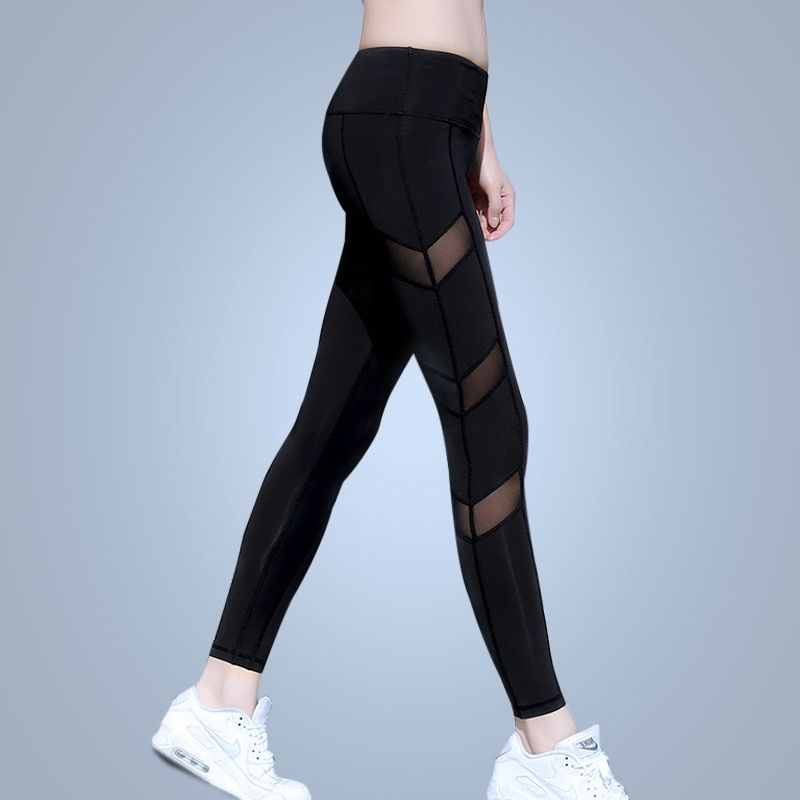 Eshtang Women tight Solid Sports yoga net yarn Trousers Fitness Gym tight Mesh Patchwork Pants Size XS-XL Free shipping