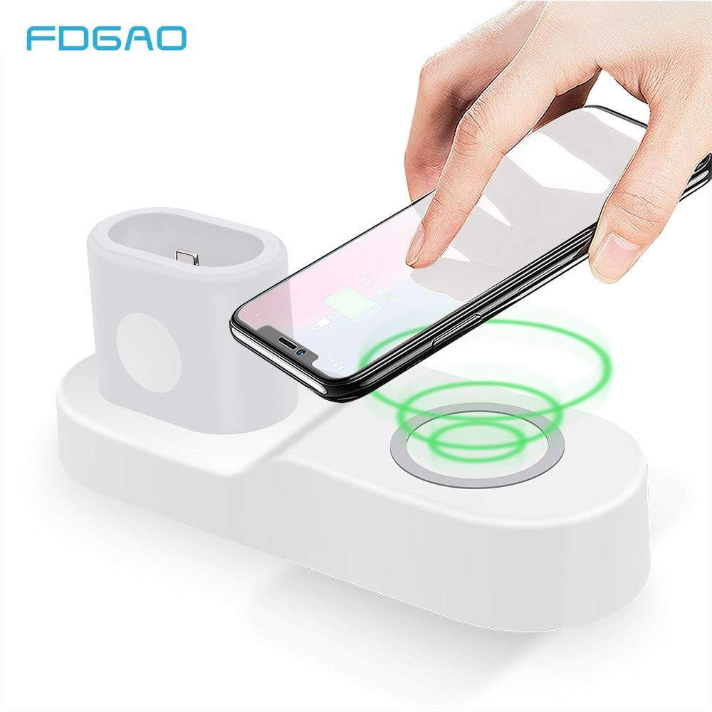 FDGAO 4 in 1 Wireless Charger Pad For Apple Watch 3 2 1 iPhone X Xs Max XR 8 AirPods Fast Wireless Charging For Samsung S9 S8