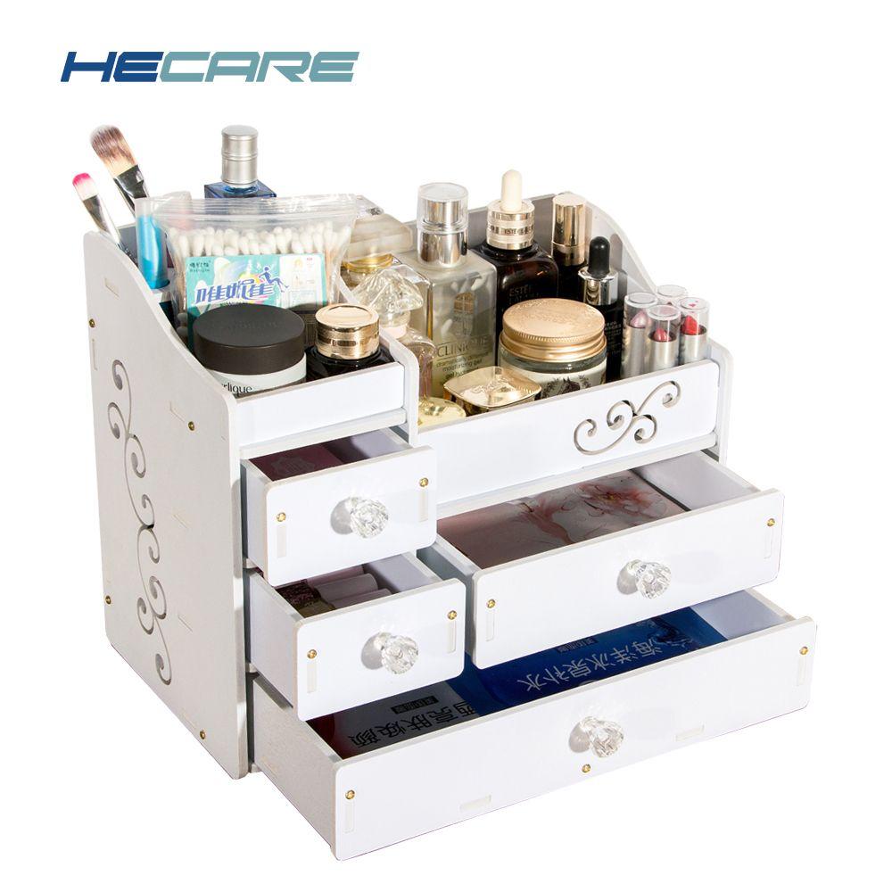 New HECARE Plastic Make Up Organizer Drawers Waterproof Rangement Maquillage Tiroir Screw Fixation Caixa Organizador De Batom