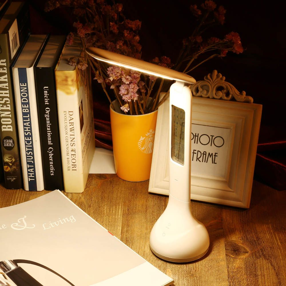 3 in1 Foldable Dimmable charging LED Table Lamp Touch Sensitive Desk Lamp with Temperature Alarm Clock And Living Color Changing
