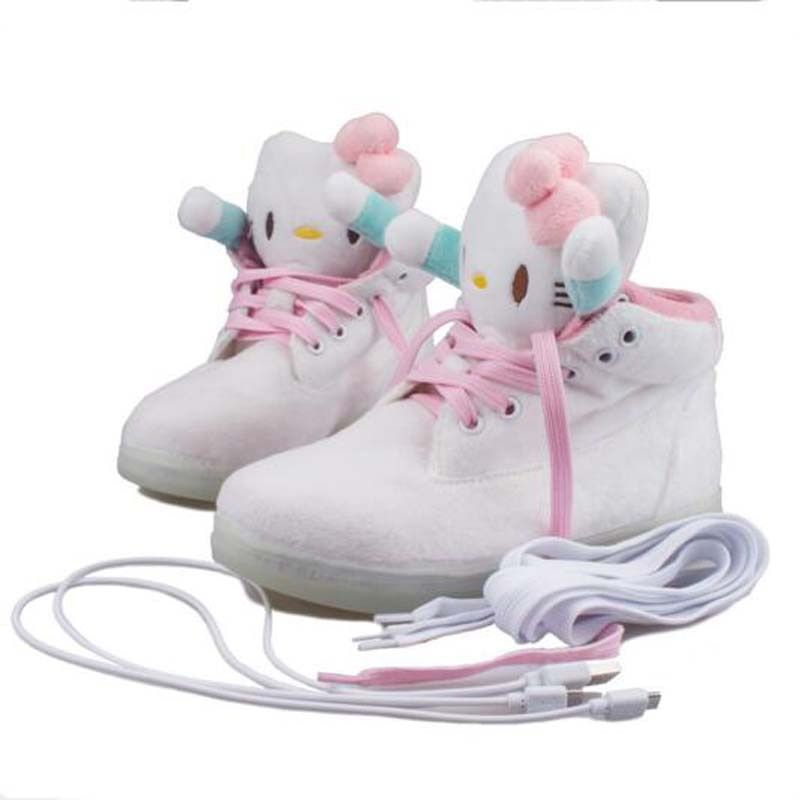 Euro size 30-40 Hello Kitty USB charging shoes Children LED Luminous shoes casual kids girls fashion sneakers brand girls shoes