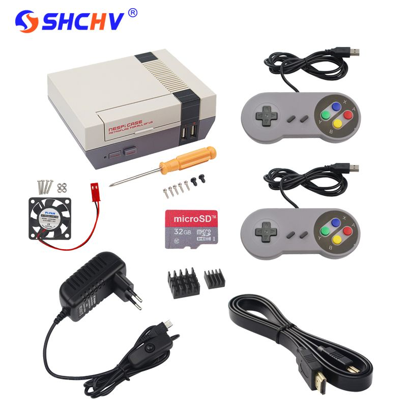 NESPi Case Raspberry Pi 3 NES Retroflag Box Kit + Fan + 32G SD Card + Game Pad Controller + 3A Swith Power Supply + HDMI Cable