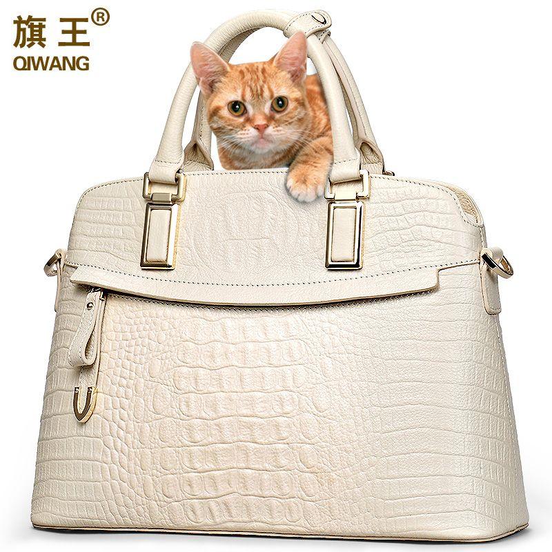 Qiwang Crocodile Women Bag Big <font><b>Luxury</b></font> Elegant Top Handle Bags Brand Women Designer Handbags 100% Genuine Leather Female Bag
