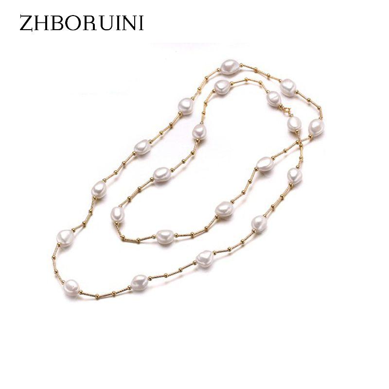 ZHBORUINI haute qualité mode Long collier de perles Baroque naturel perle d'eau douce bijoux pour femmes collier accessoires