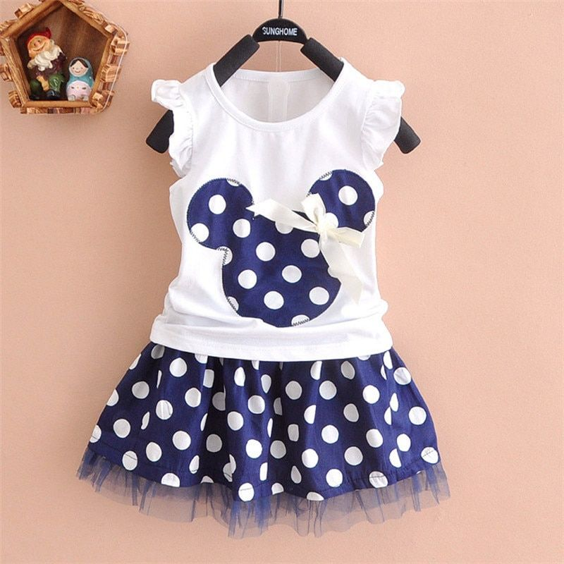 2018 new t shirt +Skirt baby kids suits 2 pcs fashion girls clothing sets minnie children clothes bow tops suit Dresses 2-6T