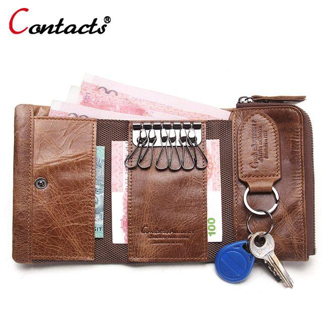 CONTACT'S Men Wallet Key Case Key Holder Wallet Coin Purse Genuine Leather Housekeeper Car Key Organizer Bag Small Portfolio
