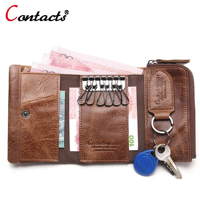 CONTACT'S Men Wallet Key Case Key Holder Wallet Coin Purse Genuine Leather Housekeeper Car Key Organizer Bag Small Portfolio