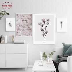900d Nordique Plume Toile Art Print Affiche de Peinture, fleur Mur Photos Pour La Décoration, mur Décor NOR37