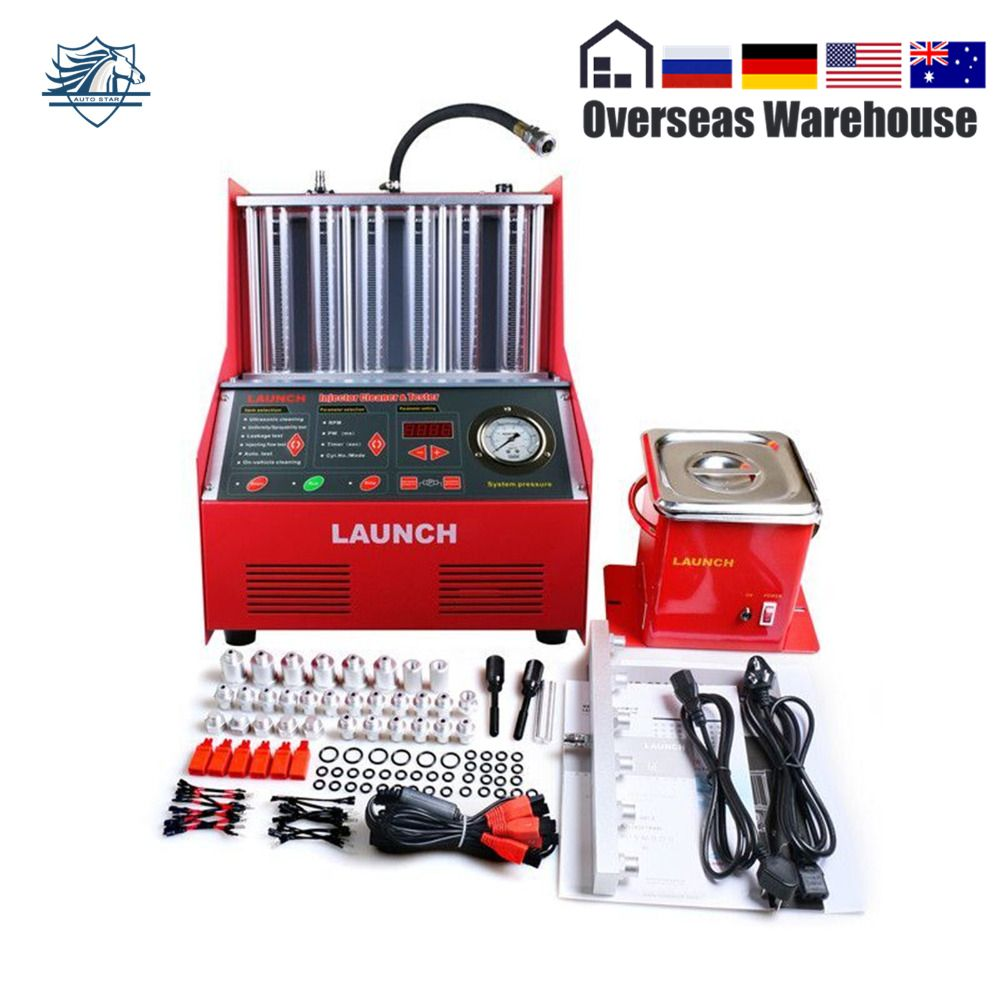 Shiny Autoparts Launch 6-cylinder CNC602A Ultrasonic Fuel Injector Cleaner Tester English Panel Cleaning Machine