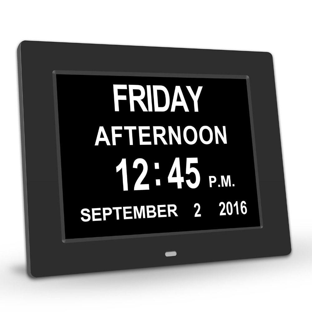 PINWEI Tag Uhr Digitalen Kalender mit Extra Große Nicht Abgekürzt Datum Zeitanzeige für Senioren Gedächtnisverlust Menschen Demenz