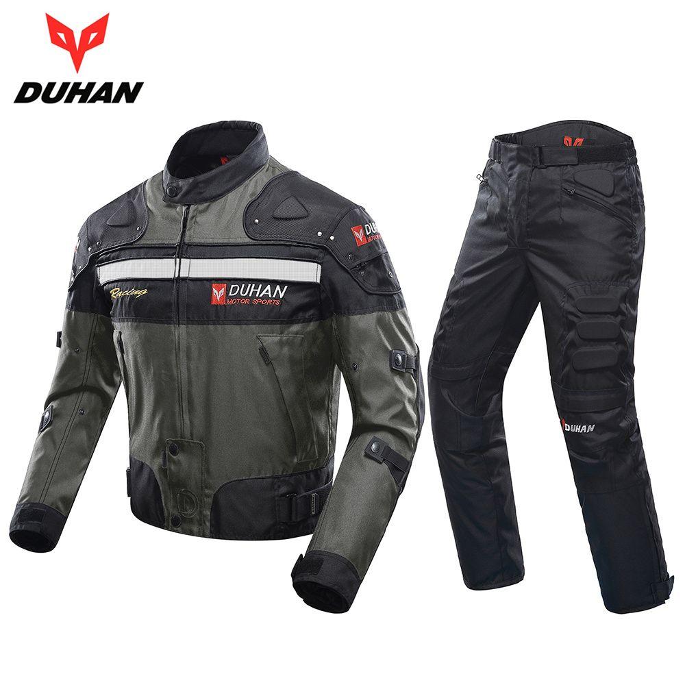 DUHAN Coupe-Vent Moto Combinaison De Course Équipement De Protection Armure Moto Veste + Moto Pantalon Hanche Protecteur Moto Vêtements Ensemble