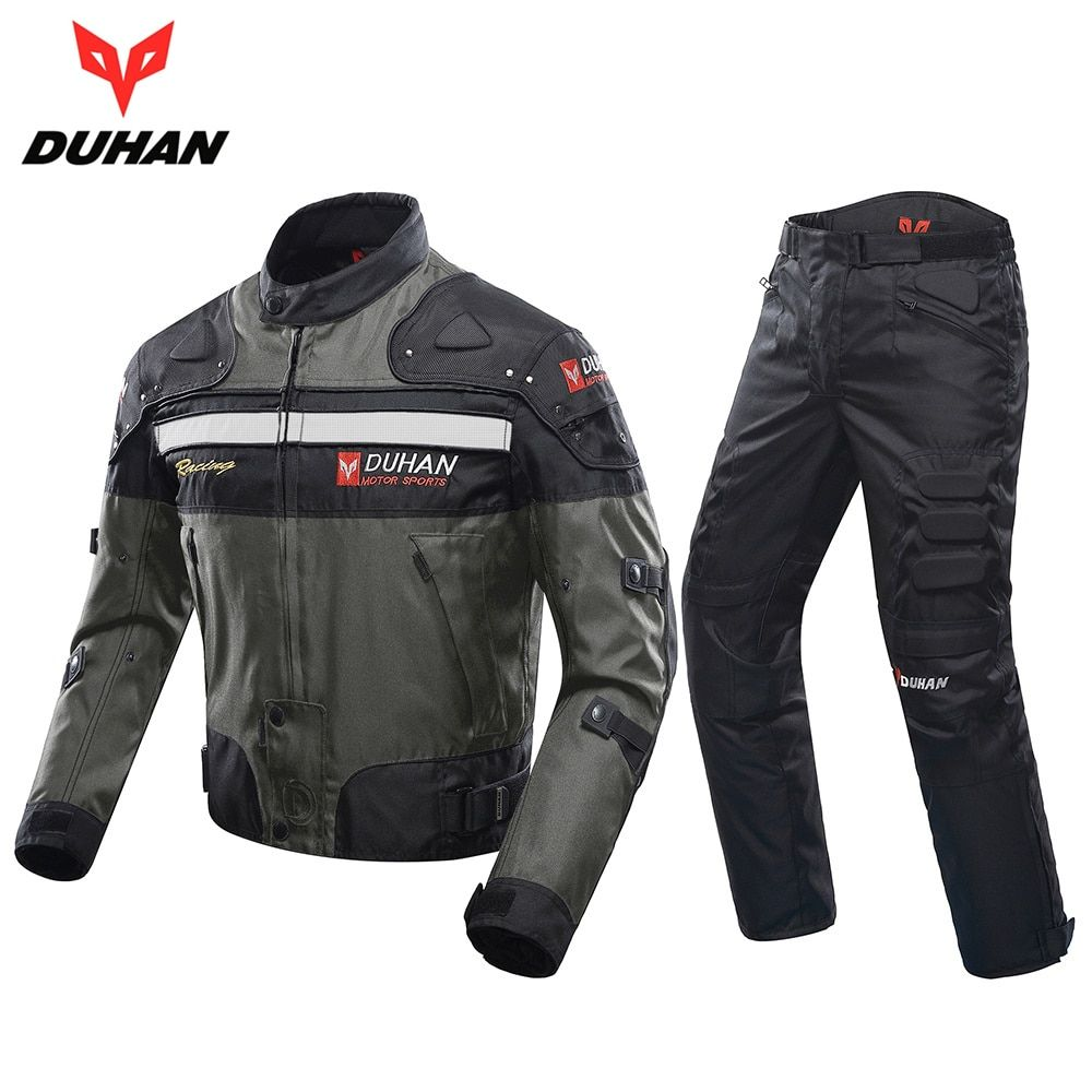 DUHAN Winddicht Motorrad Rennanzug Schutzausrüstung Rüstung Motorrad Jacke + Motorrad Hosen Hüfte Protector Moto Kleidung Set