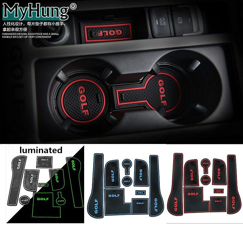 9pcs Anti-slip Non-slip Rubber Cup <font><b>Sticker</b></font> Gate Slot Pad Door Groove Mat for Volkswagen VW Golf 7 Mk7 2014-2016 Car-Styling