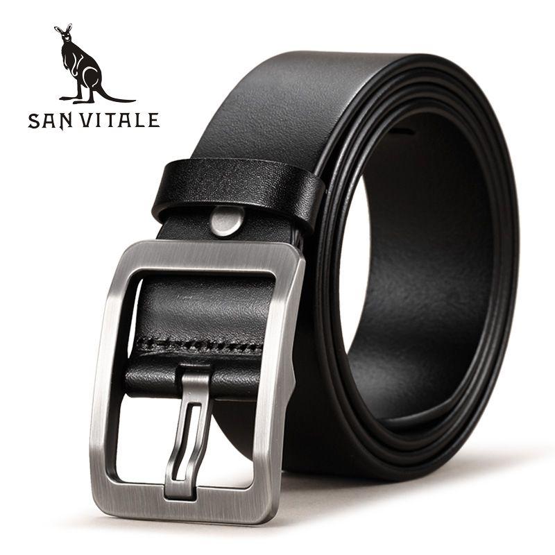 SAN VITALE 100% Cowhide Genuine Leather <font><b>Belts</b></font> for Men Brand Strap Male Pin Buckle Fancy Vintage Cowboy Jeans Cintos Freeshipping