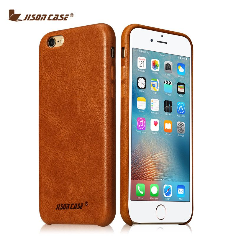 Jisoncase Genuine Leather Phone Case For iPhone 6 6s Leather Smart Phone Cover Vintage Style Half-wrapped Cases For Business Man