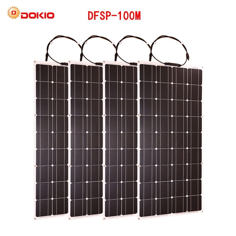 Dokio 4PCS 8PCS Solar Panel 100W Monocrystalline Solar Cell Flexible for Car/Yacht/Steamship 12V 24 Volt 100 Watt Solar Battery