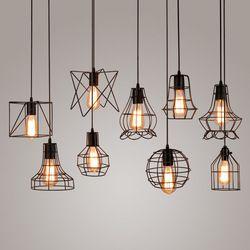 Moderne noir cage pendentif lumières fer minimaliste rétro Scandinave loft pyramide lampe en métal Suspendus Lampe E27 Intérieur ZDD0050
