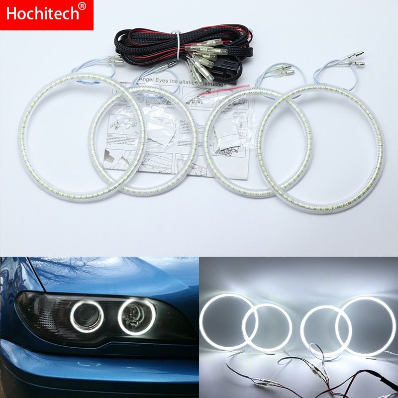 For BMW 3 Series E46 Convertible Coupe Cabrio 2004-06 Ultra Bright SMD White LED Angel Eyes Halo Ring Kit Daytime Running Light