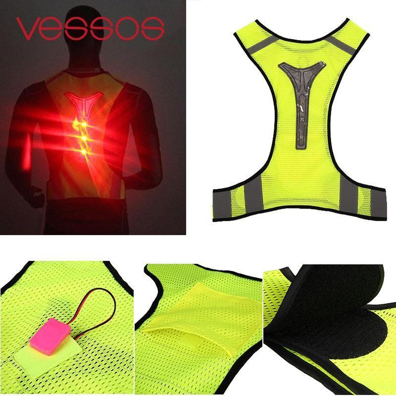 LED Reflektierende Weste Jacke für Nacht Sport Laufen Radfahren Hohe Sichtbarkeit