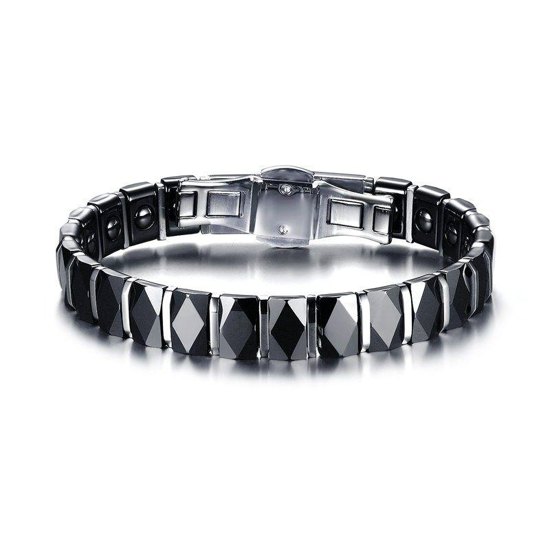 Mens Bracelets Faceted Black Ceramic Stainless Steel Bracelet for Men Punk Therapy Magnet Wristband Armband Pulseira braslet